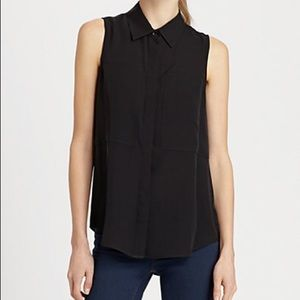 Theory Duria Button Down Silk Blouse